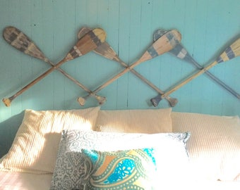 Oar Paddle Headboard Wall Art Hook Rack Expandable Twin Double Queen King Size Beach House Coastal Nautical by CastawaysHall - Ready to Ship
