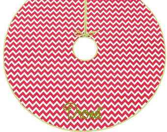 Christmas Holiday Tree Skirt in Red and White Chevron with Lime Green Trim Monogram or Name Embroidered