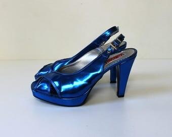 Vintage Metallic Blue High Heels // 1990s Peep Toe Platform Pumps with Adjustable Heel Strap // Size 7