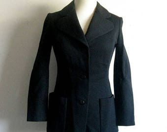 50OFF Event Vintage 1960s Blazer Black Fitted Wool Jersey Jacket XS