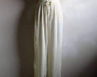 50OFF Event Vintage 80s Nipon Pants 1980s Off White Crinkle Baggy Pants Large
