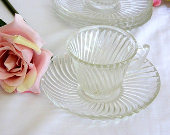 Depression Glass Demitasse Cup and Saucer Collection. Federal Glass Company. Diana Swirl Pattern. Child's Tea Party Set. Vintage Glassware.