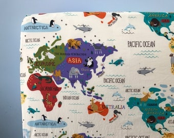 Map Baby Bedding, Baby Fitted Crib Sheet, Changing Pad Cover, World Map Bedding, Adventure Nursery, Map Crib Sheet, Travel Baby Bedding