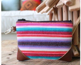 Zipper pouch - coin pouch - coin bag - zipper bag - aztec pouch - aztec accessory - bag accessories - pink pouch - bags