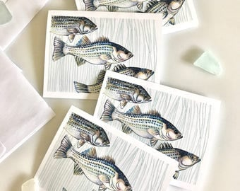 Striped Bass Fathers Day Fishing - Fathers Day Card - Fish Drawing Printed Cards - Greeting Cards 4x5 printed stationery set