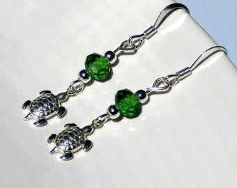 Sterling Silver Turtle Dangle Earrings With Green Glass Beads
