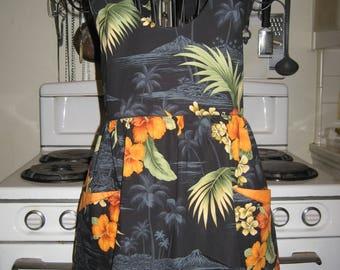 Tropical Hawaii Island Teen Ladies Halter Apron small