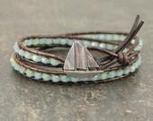 Sailboat Jewelry Silver Turquoise Sailboat Bracelet Sailing Jewelry Double Leather Wrap Bracelet Nautical Bracelet