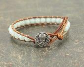 Gemstone Octopus Bracelet Silver Turquoise Octopus Jewelry Amazonite Leather Wrap Bracelet
