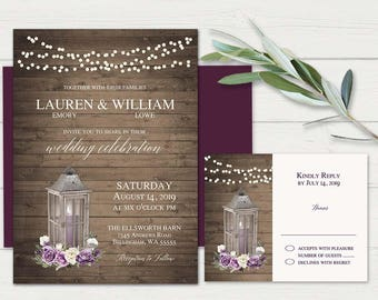 Rustic Wedding Invitations With RSVP Set Lantern Theme Wedding Invitation  Template Bohemian Floral Purple Wine Burgundy