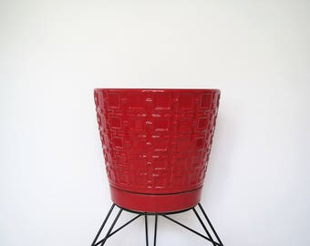 Red ceramic Asian plant pot/ 10 inch pot with drain hole