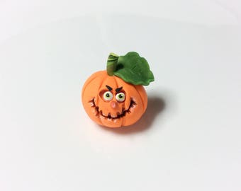 Halloween miniature pumpkin sculpture handmade from polymer clay
