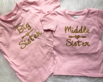 SALE ready to ship~Big/Middle Sister SET pink gold glitter t shirts size 5T and 24 months