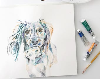 Custom Spaniel Portrait, Pet Loss Gift, Dog Memorial Portrait, Sympathy Gift, Original Watercolor Dog Portrait