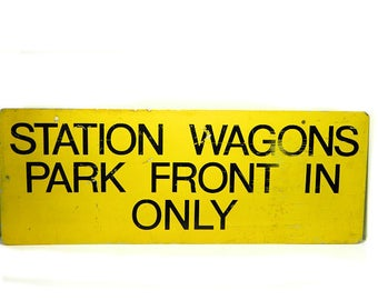 Old Metal Drive-In Theater Sign Station Wagons Park Front In Only