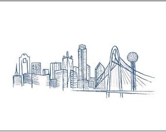 Dallas Skyline Drawing - Print