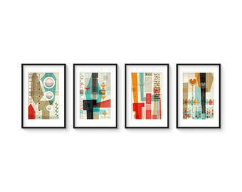 PASTICHE Set no.1 - Collection of (4) Giclee Prints - Mid Century Modern Danish Modern Abstract Art Eames Style