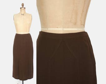 Vintage 30s Wool Crepe SKIRT / 1930s Dark Brown Lightweight Deco Daywear Skirt