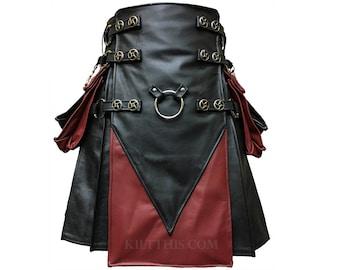 Interchangeable Black & Red Leather Cargo Utility Kilt Leather V Shape Design Spiral Conchos Leather Straps Removable Pockets
