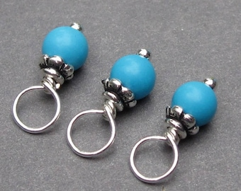 Turquoise Howlite Birthstone Charms, 4mm Turquoise Blue Dangles, Stitch Markers, December Birthstone Charms,  Wire Wrapped Bead Dangles,
