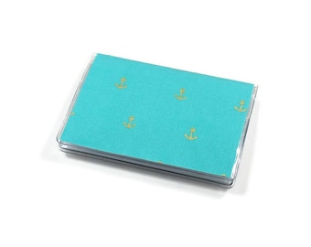 Card Case Mini Wallet Gold Metallic Anchor