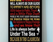 ON SALE Beautiful DISNEY famous movie quotes wooden subway art 10x24 sign mulitcolor with characters -In this Classroom we let it go...