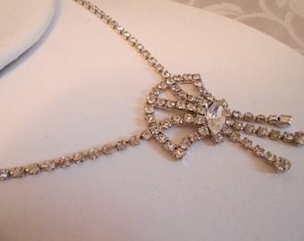"""Vintage necklace,signed """"Jay Flex Sterling"""" crystal necklace, bridal necklace,Art Deco necklace, vintage designer jewelry"""