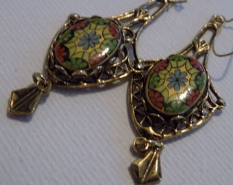 Antique earrings, Art Nouveau floral Italian drop earrings, collectible jewelry