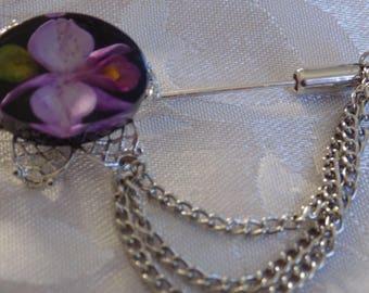 Vintage brooch, purple flower in lucite chain stickpin, retro jewelry
