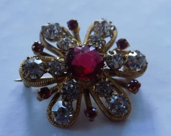 Antique brooch, red and clear crystals small and lovely collectible 1940's era brooch, vintage jewelry