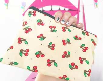 Cherry print clutch make up or pencil bag