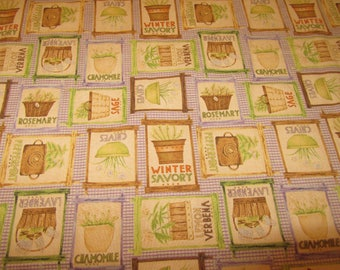 """HERB GARDEN COTTON QUiLTING FABRiC Sold by the Half Yard 43"""" wide"""