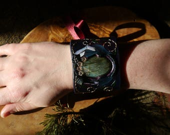 Midsummer Night Leather & Labradorite Cuff with Shrooms, One of a Kind