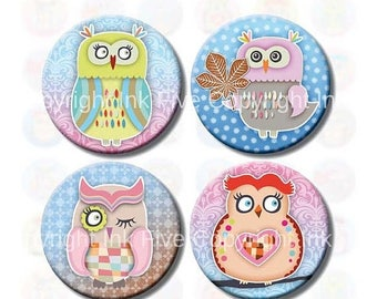 Colorful Winter Owls 1 inch bottle caps circles images. Printable download digital collage sheet for cupcake toppers, scrapbooks, magnets