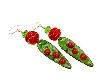 Green Orange Earrings, Enamel Earrings, Lampwork Earrings, Dangle Earrings, Artisan Long Earrings, Artisan Lampwork Jewelry, Gift Ideas