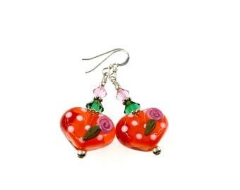Heart Lampwork Earrings, Orange Dangle Earrings, Glass Bead Earrings, Glass Bead Jewelry, Beadwork Earrings, Polka Dot Lampwork Jewelry
