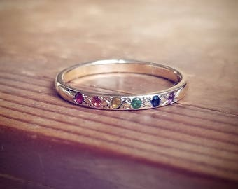 Rainbow Wedding Band Rainbow Engagement Ring Rainbow Wedding Ring 14K Gold Pride Ring Rainbow Band LGBT Engagement Ring LGBT Wedding Band