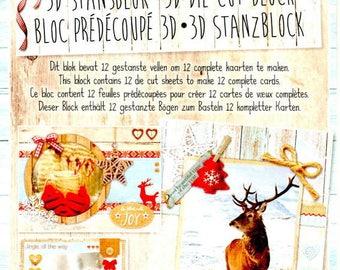 34667 block images 3d die cut vintage Christmas