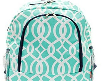 Personalized  Girls Backpack, Mint Backpack, Vine Pattern Backpack,Girls Backpack, Monogrammed Backpack, Embroidered Backpack