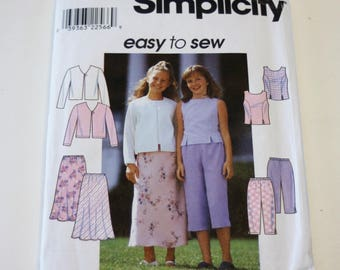 Simplicity 8550: Easy to Sew Girls' Top, Jacket, Skirt, and Pants UNCUT Sizes 7,8,10