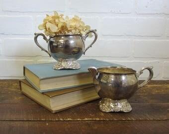 Vintage Silver Plate Metal Sugar Bowl and Creamer