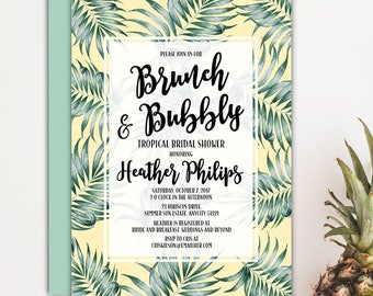 Tropical Brunch and Bubbly Bridal Shower Invitation, Tropical Leaves Luau Summer Bride Wedding Shower Printable Invitation