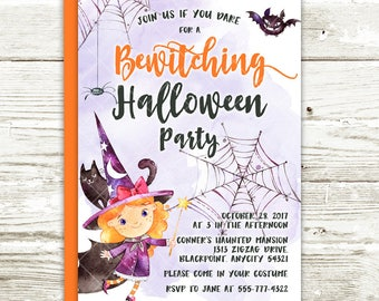 Halloween Witches Party Invitation, Witches Halloween Costume Party, Bewitching Halloween Party Printable Invitation