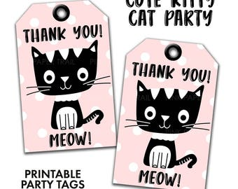 Cute Kitty Cat Pink Black and White Kitty Party Thank You Tag Favor Tags Gift Tag, Instant Download Printable Party Tags