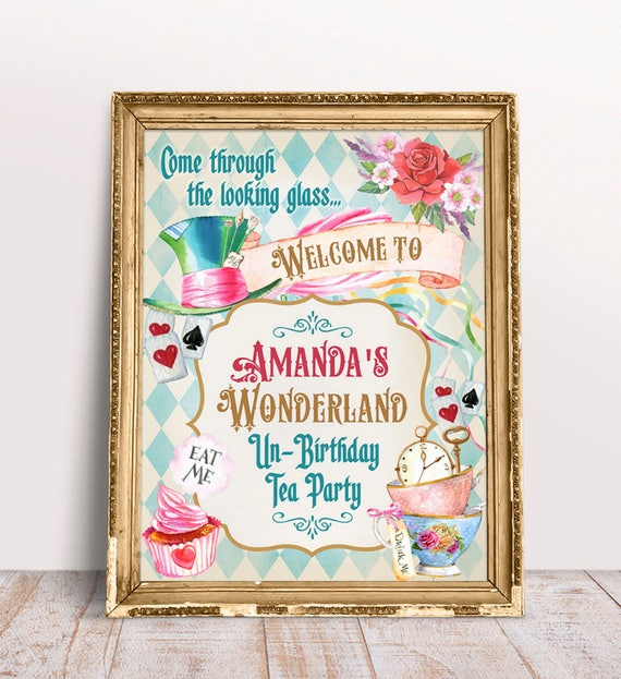 alice in wonderland welcome party sign tea party welcome sign