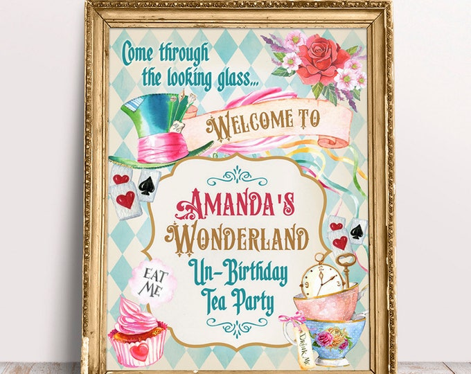Alice in Wonderland Welcome Party Sign, Tea Party Welcome Sign, Bridal Shower, Baby Shower, Birthday Wedding etc. Printable Welcome Sign