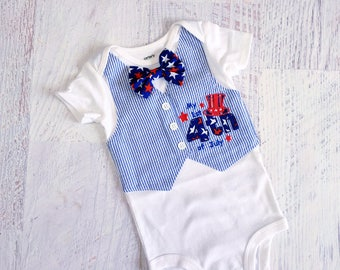Size 9 Months READY TO SHIP Baby's First 4th of July Red White and Blue Seersucker Tuxedo Bodysuit Vest with Matching Star Bow Tie