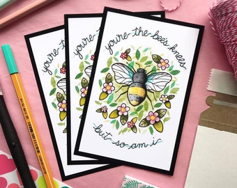 The Smiths You're the Bee's Knees Botanical Watercolor Tattoo Flash PRINT by Michelle Kent