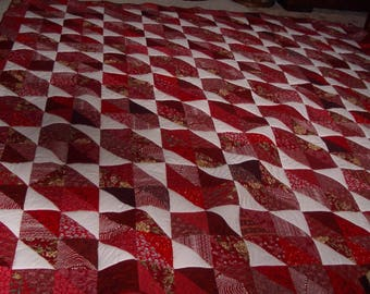 Red and White king handmade scrappy quilt 112 x 112