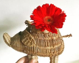 Woven Wicker Elephant Basket Planter